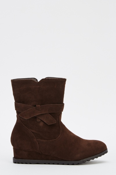 Suedette Wedge Boots