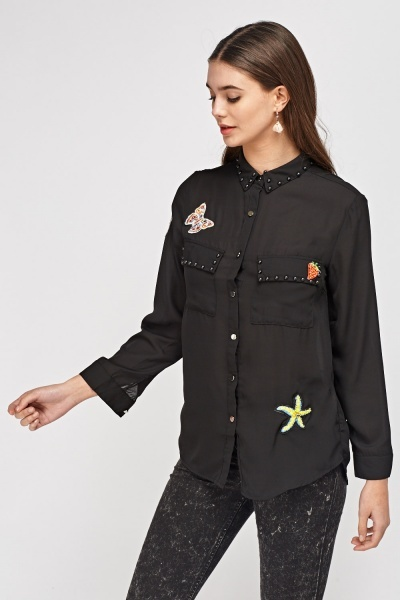 Applique Sheer Shirt