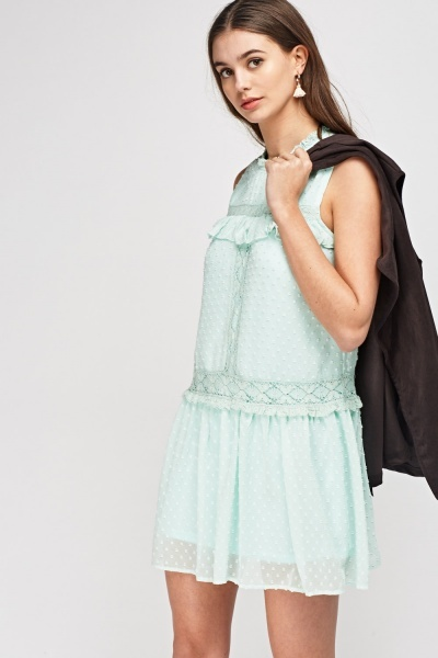 Mesh Overlay Frilled Mini Dress