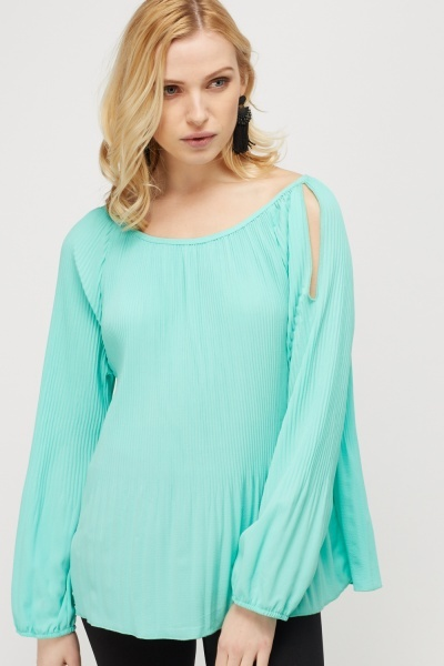 Cut Out Shoulder Pleated Top