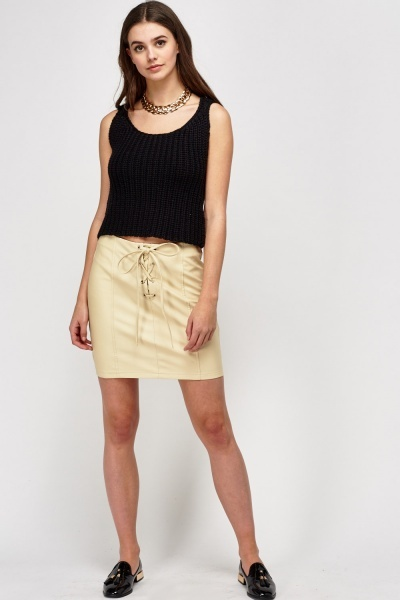 Faux Leather Lace Up Front Skirt