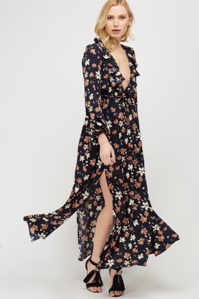 Floral Ruffled Front Maxi Dress