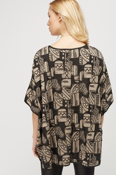 Printed Tie Up Poncho