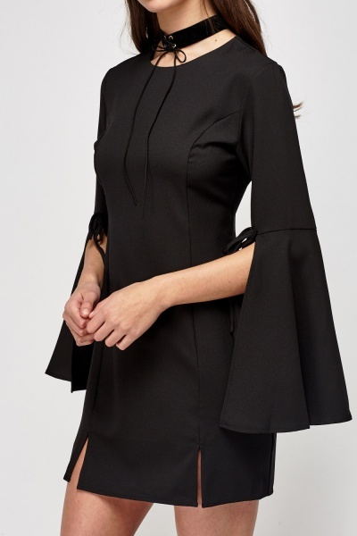 Slit Flare Sleeve Black Dress