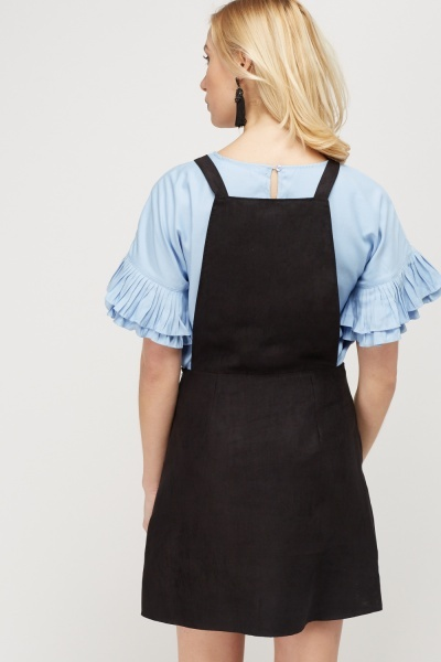 Zip Front Pinafore Dress