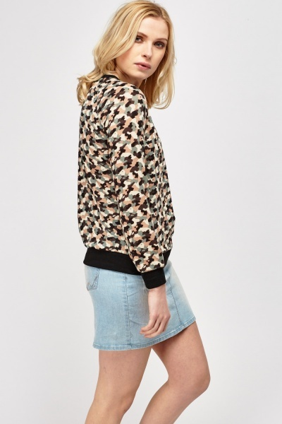 Camouflage Thin Knit Sweater
