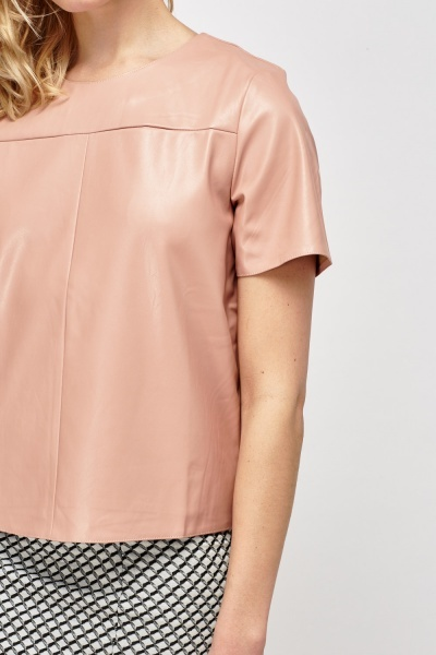 Faux Leather Short Sleeve Box Top