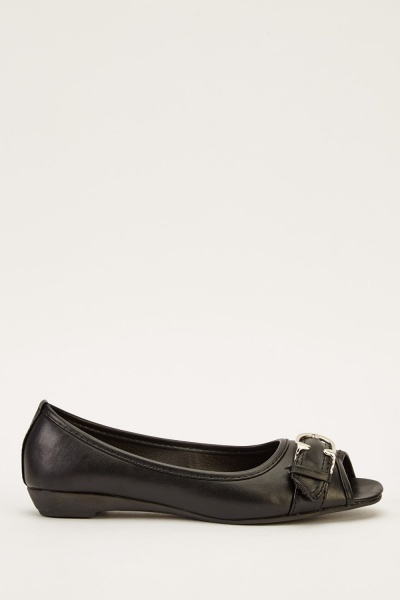 Black Peep Toe Ballets