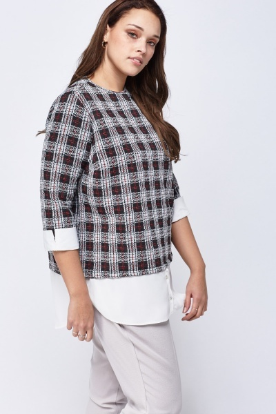 Check Grid Button Hem Top
