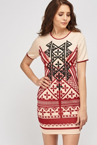 Embellished Printed Bodycon Dress