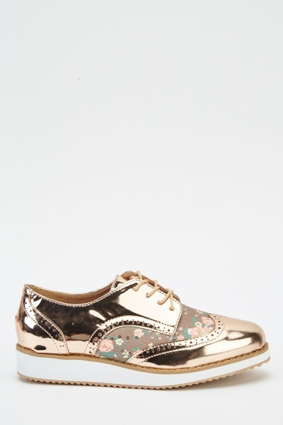 Floral Metallic Lace Up Shoes