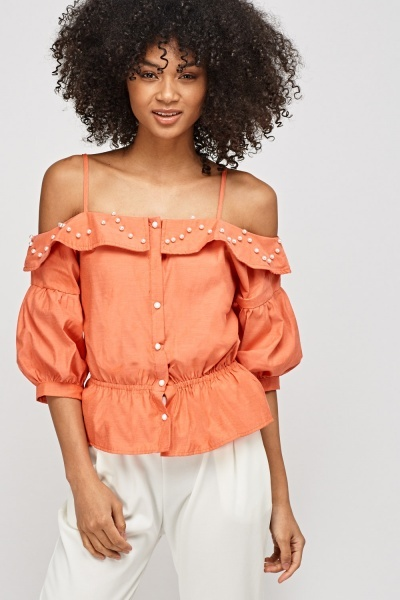 Cold Shoulder Faux Pearl Top