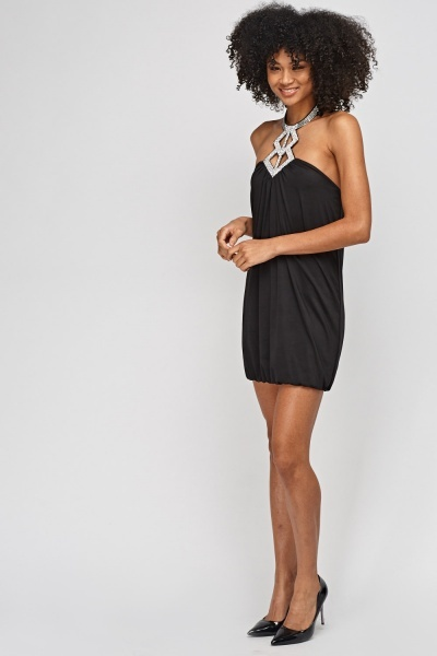 Encrusted Halter Neck Dress