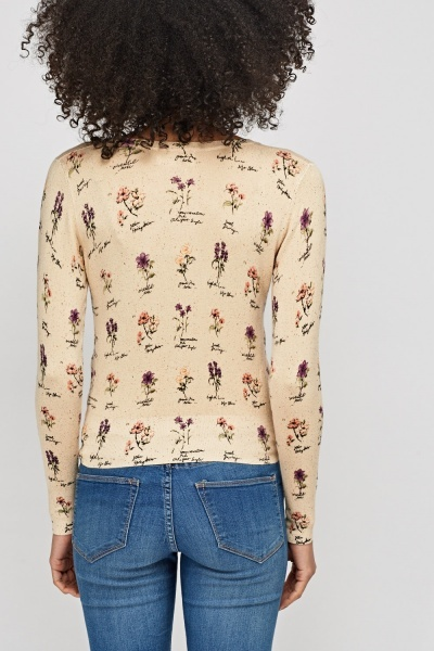 Floral Knitted Thin Cardigan