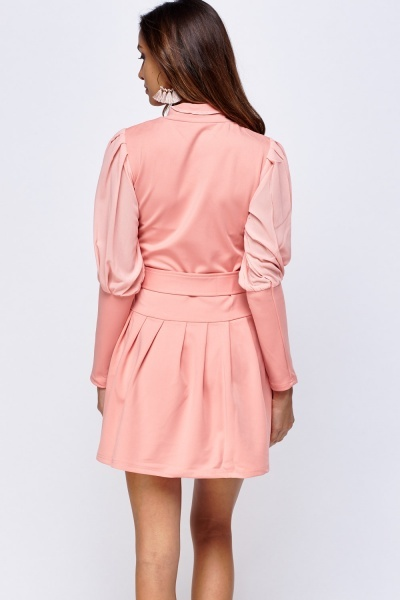 Balloon Sleeve Button Up Skater Dress