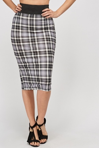 Check Grid Pencil Skirt