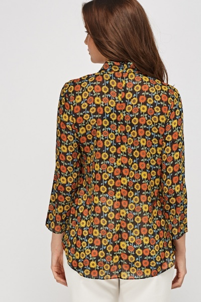 Sunflower Print Blouse