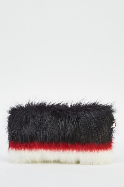 Black Trio Faux Fur Clutch Bag