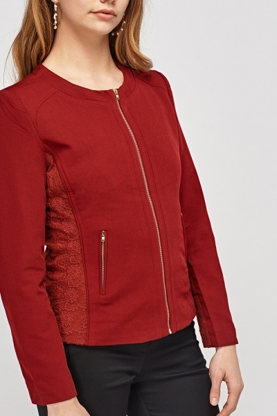 Embossed Side Zipped Jacket
