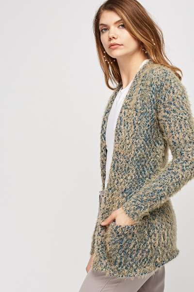 Eyelash Knitted Speckled Cardigan