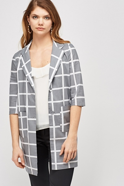 Grey Checked Light Weight Jacket