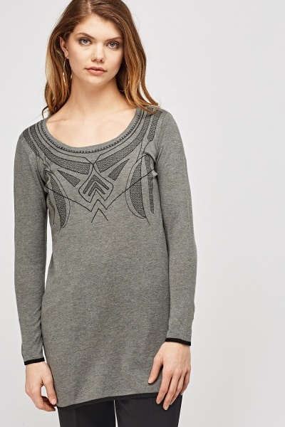 Stitched Front Knitted Top
