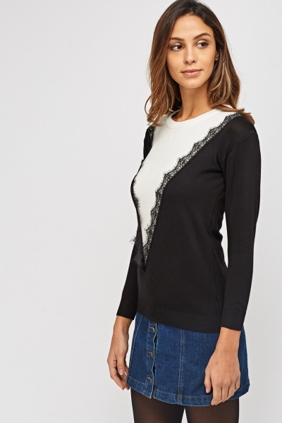 Lace Trim Knitted Colour Block Top