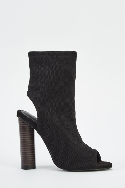 Textured Peep Toe Heeled Boots