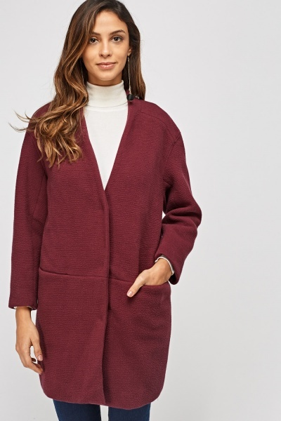 Textured Wine Long Coat