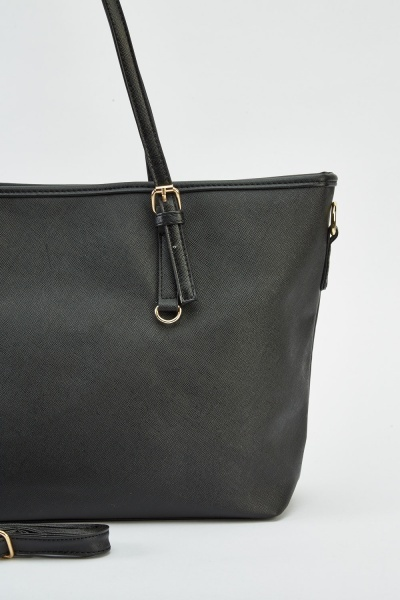 Buckled Handle Textured Bag