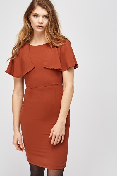 Cape Flare Sleeve Shift Dress