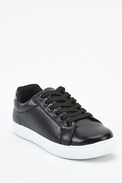 Laser Cut Side Low Top Trainers