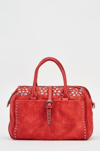 Studded Textured Faux Leather Bag