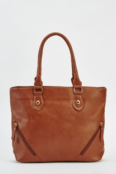 Zipped Corner Faux Leather Bag