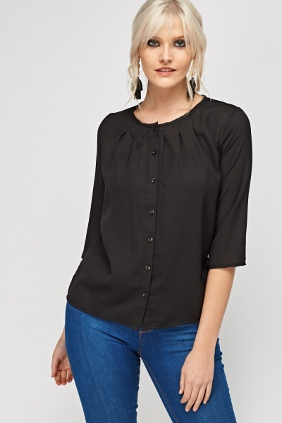 3/4 Sleeve Button Front Top