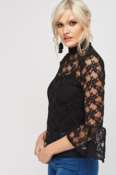 Mesh Flare Sleeve Top