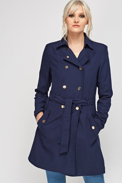 Navy Tie Up Trench Coat
