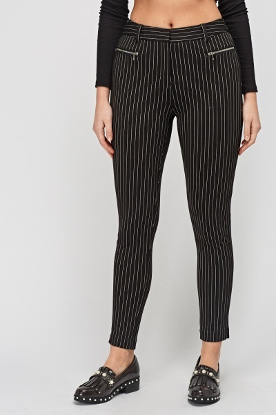 Pinstriped Fitted Trousers
