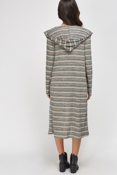 Metallic Insert Hooded Long Cardigan