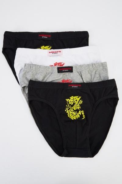Pack Of 4 Dragon Print Mens Boxers