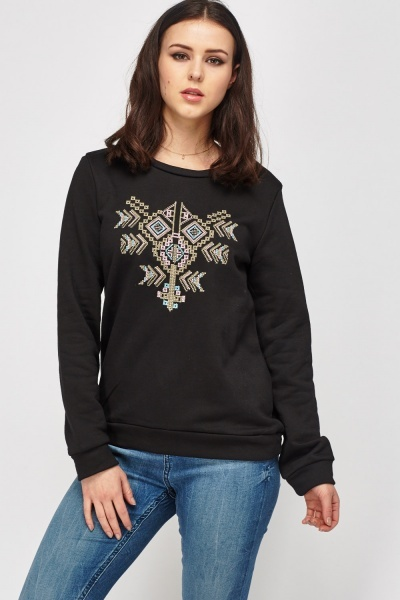 Embroidered Front Sweatshirt
