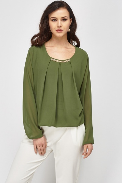 Encrusted Trim Sheer Blouse