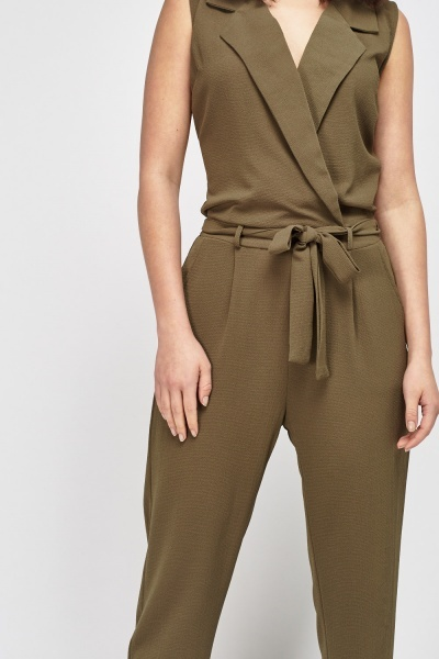 Olive Wrap Textured Jumpsuit