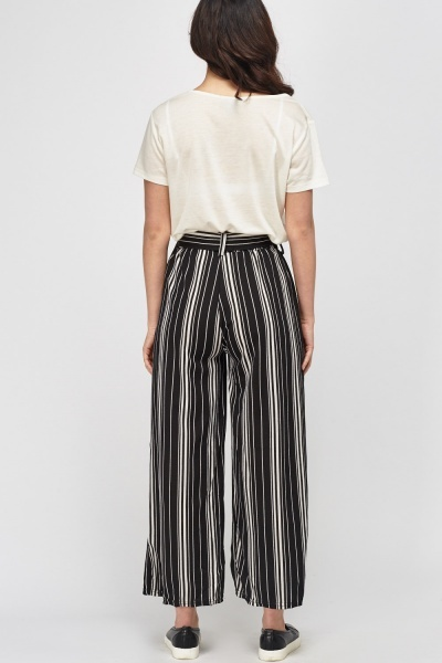 Striped Wide Leg Light Weight Trousers