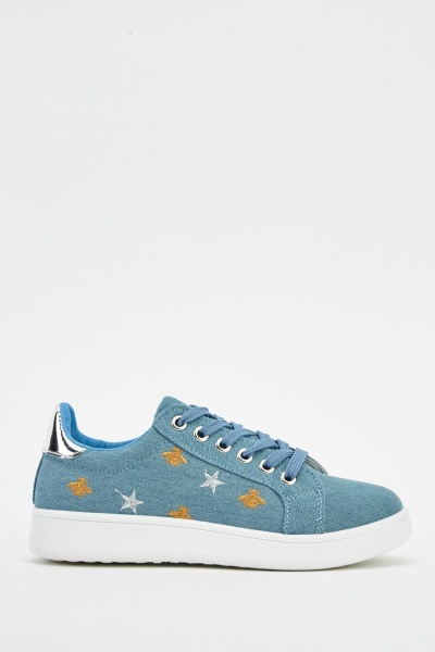Denim Embroidered Trainers