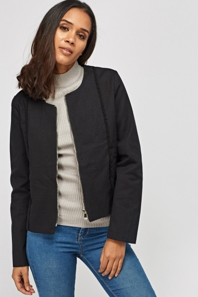 Bobble Trim Zipped Jacket