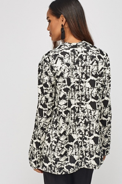 Printed Open Front Jacket