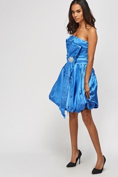 Sateen Bandeau Box Pleated Dress