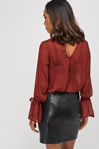 Sheer Choker Neck Blouse