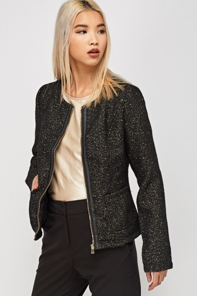 Metallic Insert Tweed Jacket